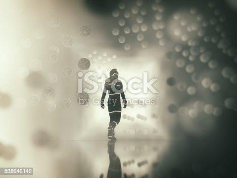 istock Astronaut walking in alien city 538646142