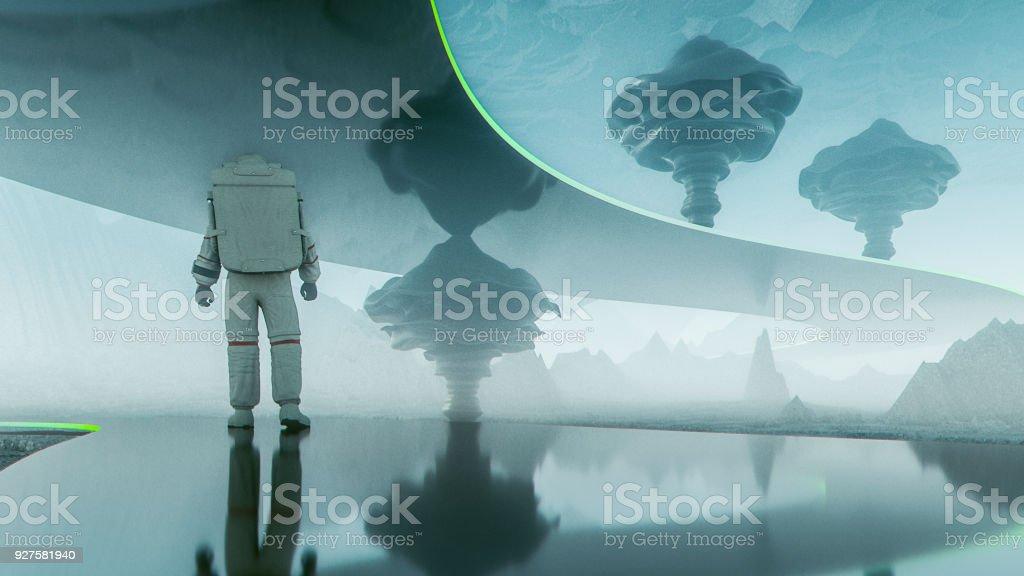 Fotografía de astronauta caminando en el camino futurista en el