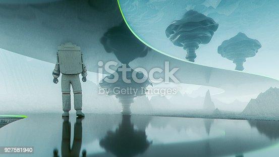 Astronaut walking on futuristic road on alien planet.