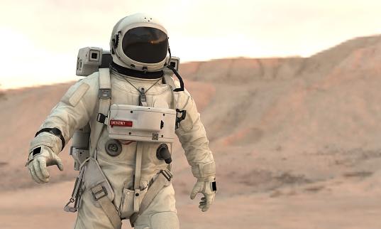 Astronaut walking on Mars