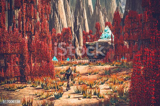 Astronaut walking on mysterious planet.
