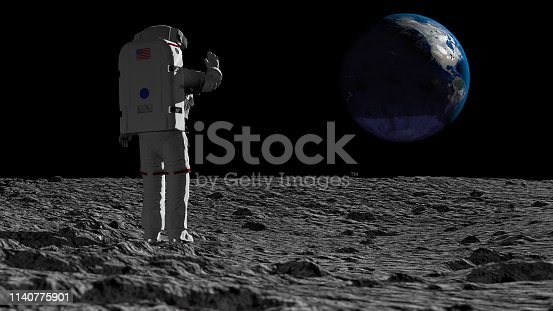 istock Astronaut walking on the moon and admiring the beautiful Earth. CG Animation. Elements of this image furnished by NASA. 3D rendering 1140775901
