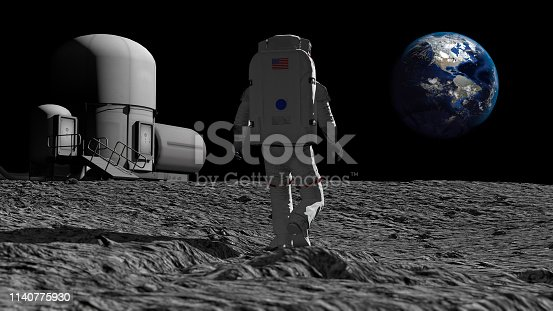 istock Astronaut walking on the moon and admiring the beautiful Earth. CG Animation. Elements of this image furnished by NASA. 3D rendering 1140775930