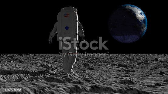 istock Astronaut walking on the moon and admiring the beautiful Earth. CG Animation. Elements of this image furnished by NASA. 3D rendering 1140775933