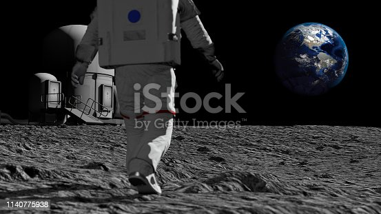 istock Astronaut walking on the moon and admiring the beautiful Earth. CG Animation. Elements of this image furnished by NASA. 3D rendering 1140775938