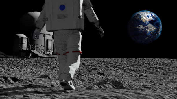 astronaut walking on the moon and admiring the beautiful earth. cg animation. elements of this image furnished by nasa. 3d rendering - исследование космоса стоковые фото и изображения
