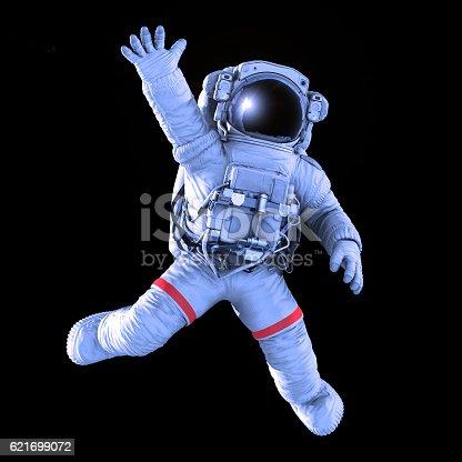 istock Astronaut waving, 3d render 621699072