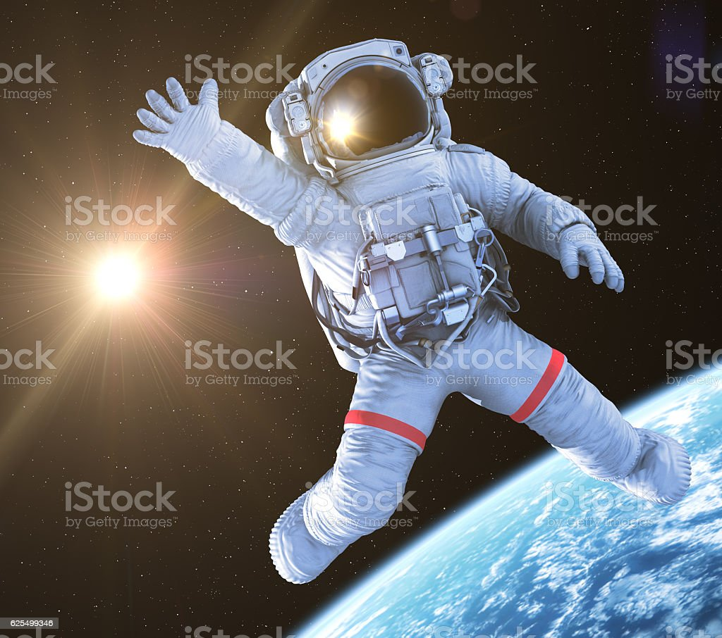Astronaut waving, 3d render, stock photo