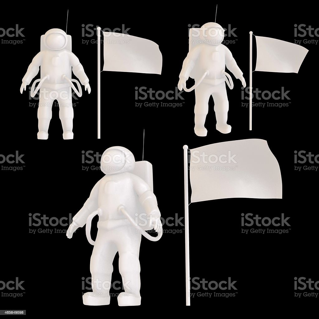 Astronaut white set on the black a black background with flag. stock photo