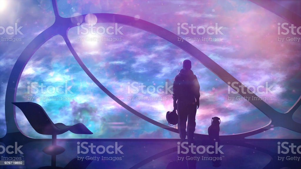 Astronaut With A Cat On A Spaceship stock photo
