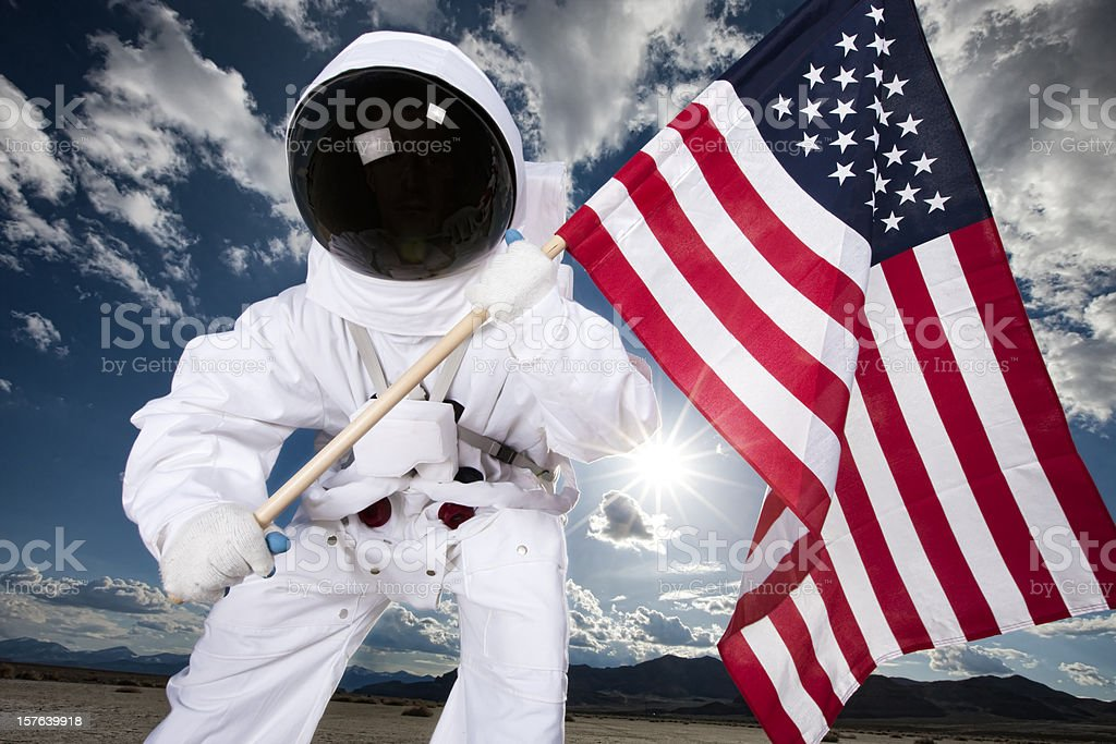 Astronaut With American Flag stock photo