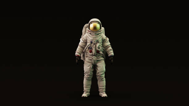 astronaut with gold visor and white spacesuit with light yellow and green moody 80s lighting front - astronaut stock pictures, royalty-free photos & images