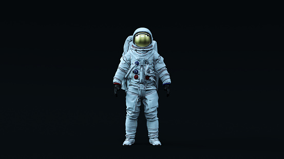 Astronaut with Gold Visor and White Spacesuit with Neutral Light Blue Diffused lighting Front