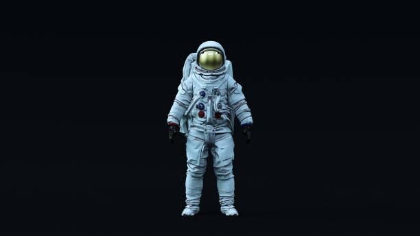 astronaut with gold visor and white spacesuit with neutral light blue diffused lighting front - astronaut stock pictures, royalty-free photos & images