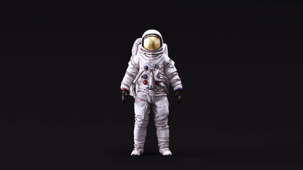 astronaut with gold visor and white spacesuit with neutral white lighting front - astronaut stock pictures, royalty-free photos & images