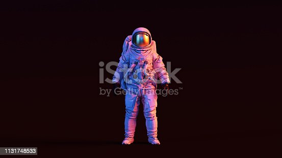 Astronaut with Gold Visor and White Spacesuit with Pink and Blue Moody 80s lighting Front 3d illustration 3d render