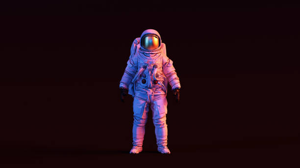 astronaut with gold visor and white spacesuit with pink and blue moody 80s lighting front - astronaut stock pictures, royalty-free photos & images