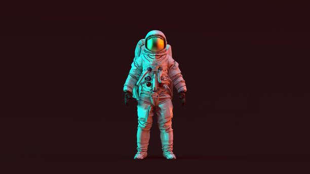 astronaut with gold visor and white spacesuit with red and blue moody 80s lighting front - astronaut stock pictures, royalty-free photos & images