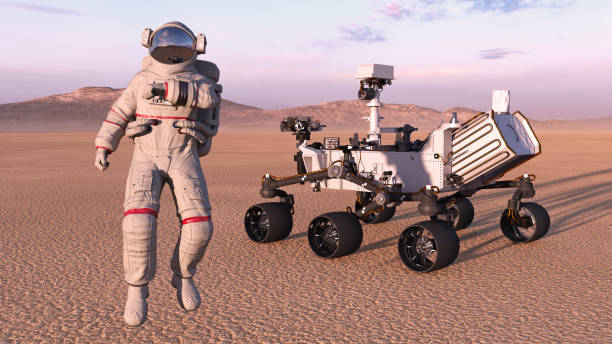 Astronaut with mars rover, cosmonaut next to robotic space autonomous vehicle on a deserted planet, 3D render Astronaut with mars rover, cosmonaut next to robotic space autonomous vehicle on a deserted planet, 3D rendering rover stock pictures, royalty-free photos & images