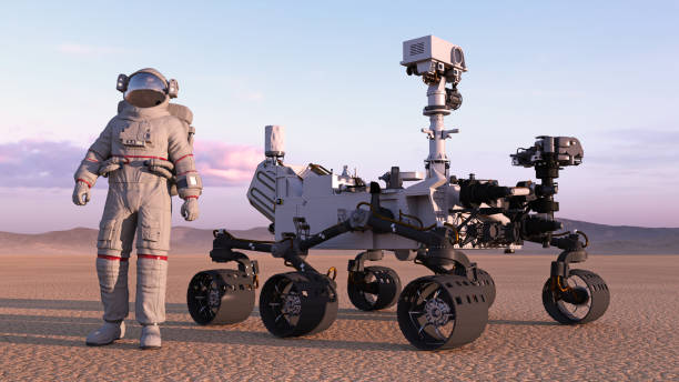 Astronaut with mars rover, cosmonaut standing next to robotic space autonomous vehicle on a deserted planet, 3D rendering Astronaut with mars rover, cosmonaut standing next to robotic space autonomous vehicle on a deserted planet, 3D rendering rover stock pictures, royalty-free photos & images