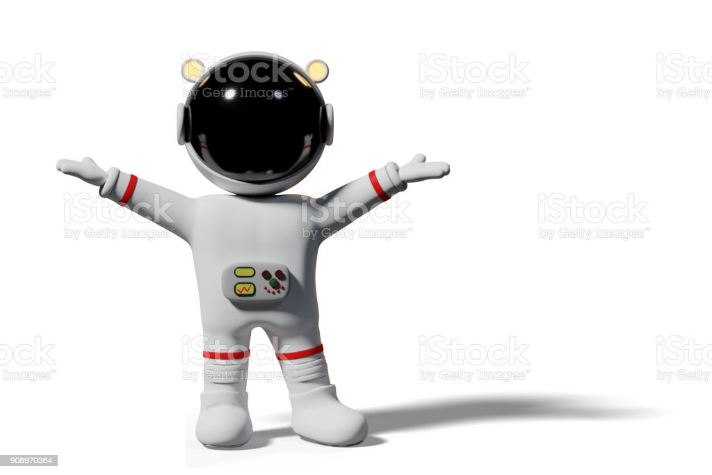 astronaut with raised hands, 3d cartoon character presenting (3d rendering isolated on white background) stock photo
