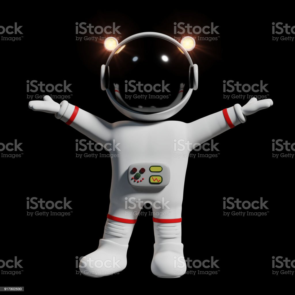 astronaut with raised hands, 3d cartoon character presenting (3d rendering isolated on black background) stock photo