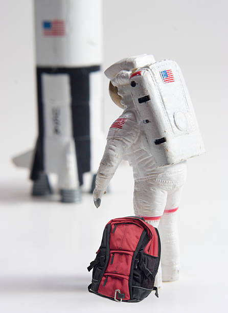Astronaut with red bag stock photo