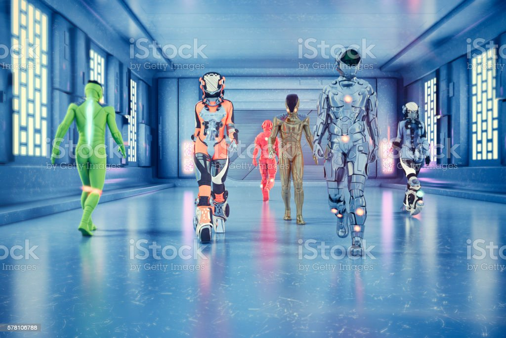 Astronauts and space travelers walking in spaceship corridor stock photo