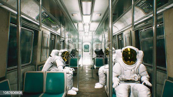 istock Astronauts go to work in the train. Abstract cosmic fantasy. 3D Rendering 1082606908