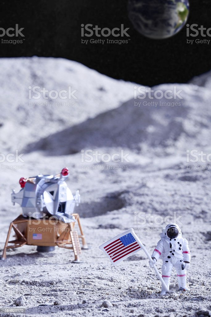 USA astronauts on the moon stock photo