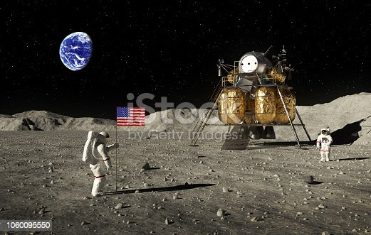 istock Astronauts Set An American Flag On The Moon 1060095550