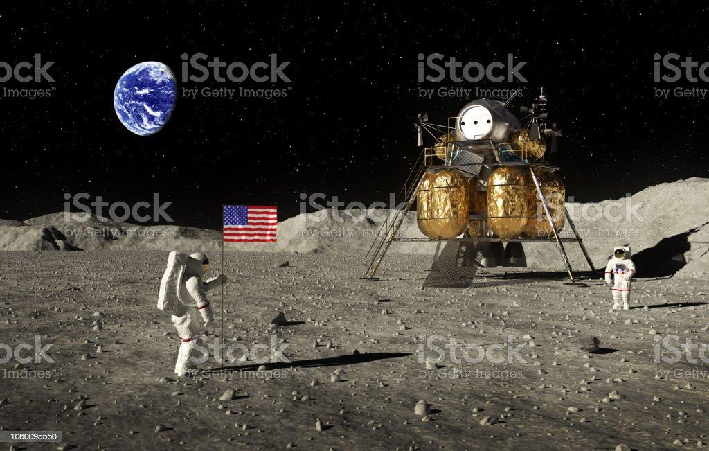 Astronauts Set An American Flag On The Moon stock photo