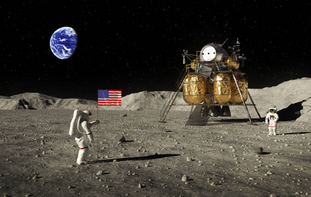astronauts set an american flag on the moon - moon stock pictures, royalty-free photos & images