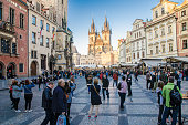 istock Astronomical clock and church of our lady before týn in Prague 1144922790