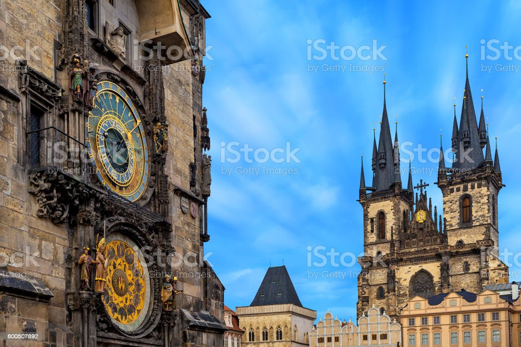 Astronomical clock and Church of Our Lady before Tyn in Prague. stock photo
