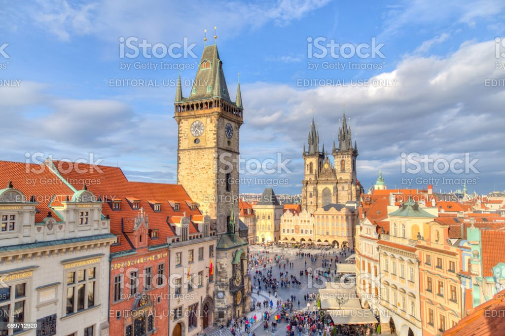Astronomical Clock and Old Town Square in Prague stock photo