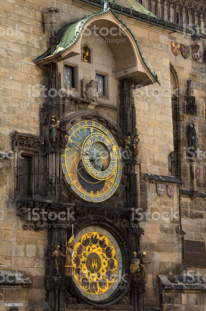 Astronomical Clock At Old Town Hall Tower In Prague stock photo
