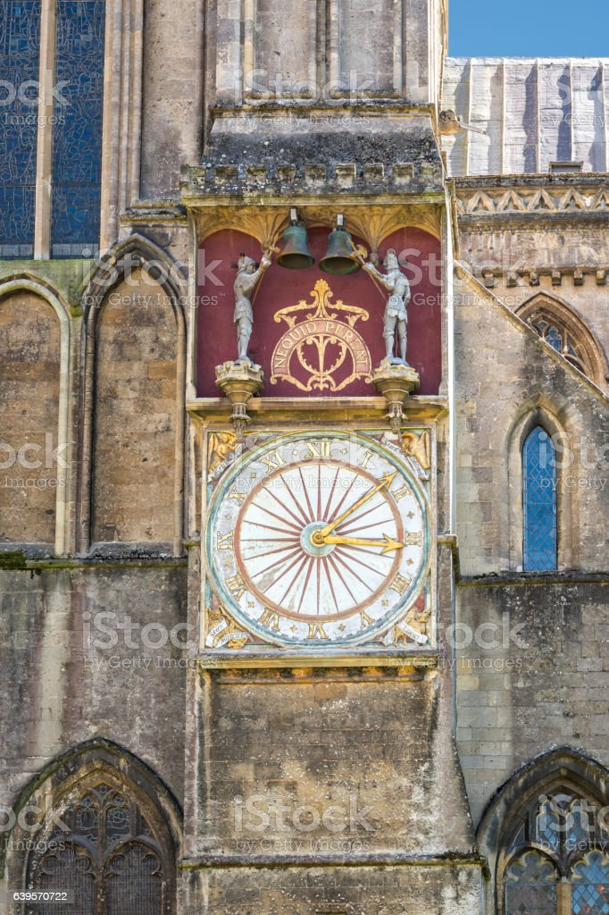 Astronomical clock at Wells cathedral stock photo