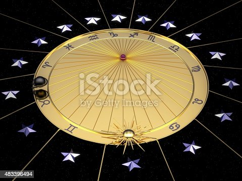 istock Astronomical clock in gold with zodiac signs 483396494