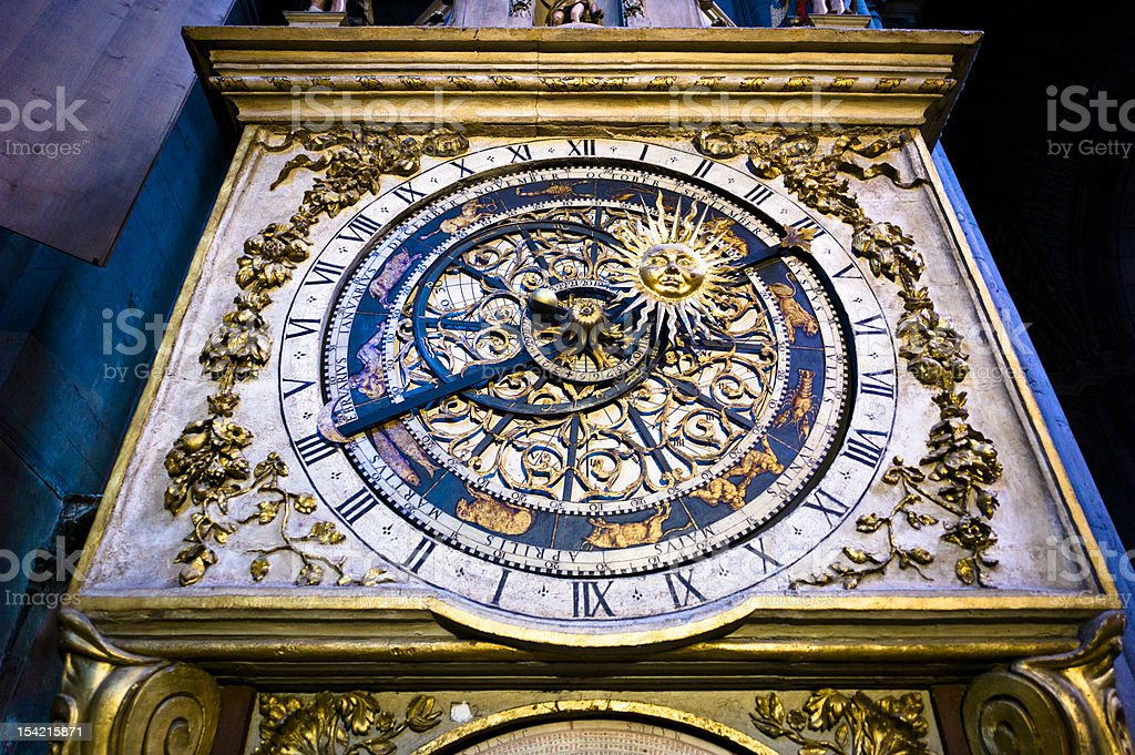 Astronomical Clock in Lyon Cathedral stock photo