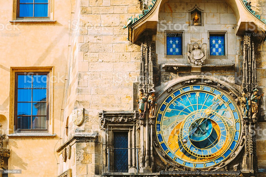 Astronomical Clock In Prague, Czech Republic. Close Up Photo royalty-free stock photo
