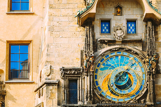 Astronomical Clock In Prague, Czech Republic. Close Up Photo Prague Astronomical Clock At Old Town City Hall From 1410 Is The Third Oldest Astronomical Clock In World And Oldest One Still Working astronomical clock prague stock pictures, royalty-free photos & images