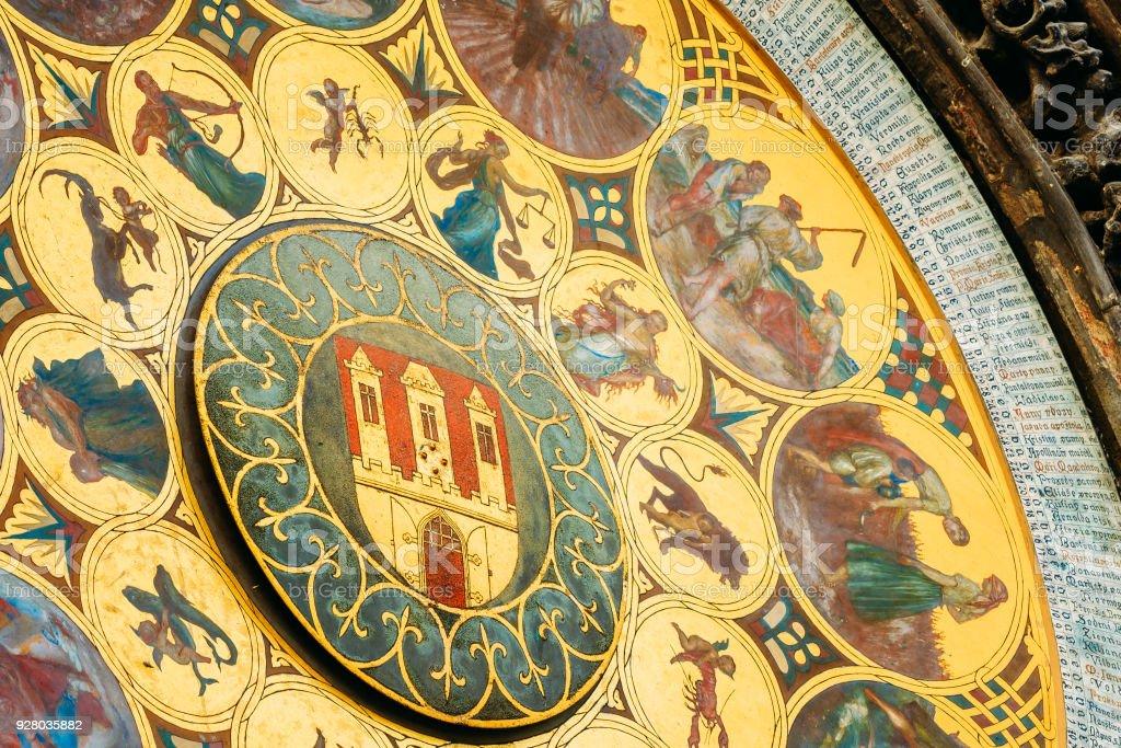 Astronomical Clock In Prague, Czech Republic. Close Up Photo stock photo