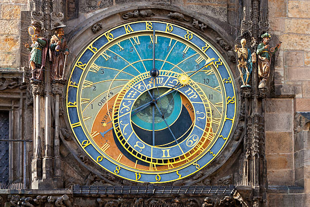 Astronomical Clock in Prague, Czech Republic view of the astronomical clock tower in Prague, Czech Republic astronomical clock prague stock pictures, royalty-free photos & images