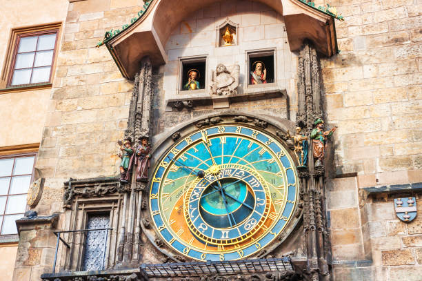 Astronomical clock in Prague, Czech Republic Historical medieval astronomical clock in Old Town Square in Prague, Czech Republic astronomical clock prague stock pictures, royalty-free photos & images