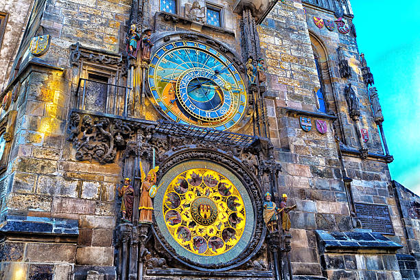 Astronomical clock in Prague The medieval astronomical clock in the Old Town square in Prague astronomical clock prague stock pictures, royalty-free photos & images