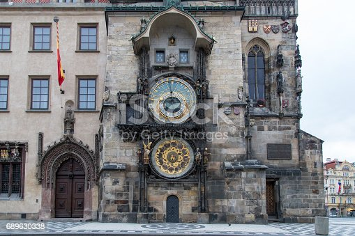 Prague, Czech Republic - March 21, 2017: The famous astronomical clock at the Old Town Square in the city centre