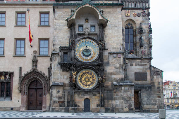 Astronomical Clock in Prague Prague, Czech Republic - March 21, 2017: The famous astronomical clock at the Old Town Square in the city centre astronomical clock prague stock pictures, royalty-free photos & images