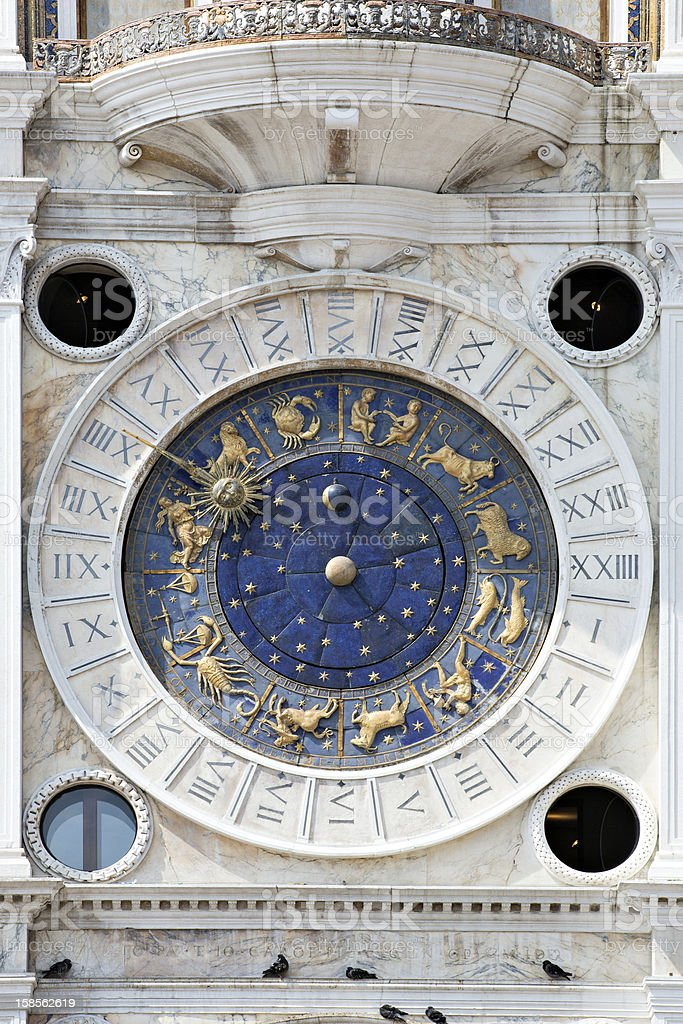 Astronomical clock in San Marco, Venice stock photo