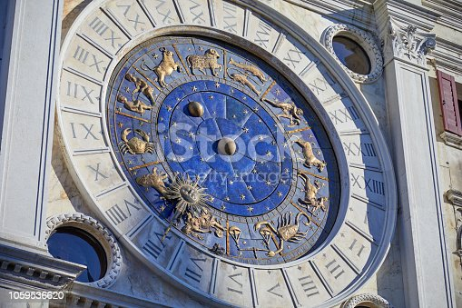 istock Astronomical clock in Venice with gold zodiac signs, mystery in Italy 1059536620